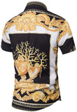 Pizoff Men's Short Sleeve Luxury Print Dress Shirt Y1782-03
