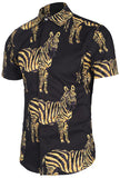 Pizoff Men's Short Sleeve Luxury Print Dress Shirt Y1782-07