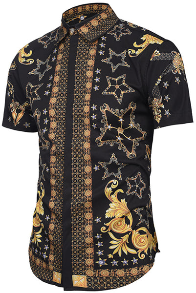 Pizoff Men's Short Sleeve Luxury Print Dress Shirt Y1782-09