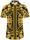 Pizoff Men's Short Sleeve Luxury Print Dress Shirt Y1782-11
