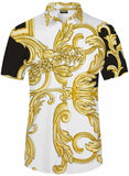 Pizoff Men's Short Sleeve Luxury Print Dress Shirt Y1782-13