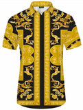 Pizoff Men's Short Sleeve Luxury Print Dress Shirt Y1782-16