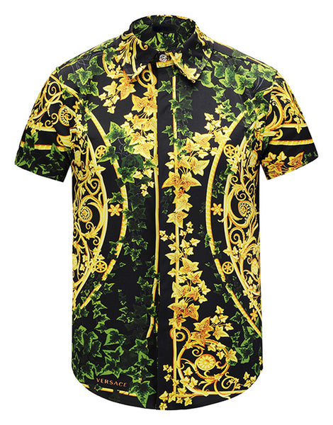 Pizoff Men's Short Sleeve Luxury Print Dress Shirt Y1782-18