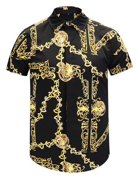 Pizoff Men's Short Sleeve Luxury Print Dress Shirt Y1782-19