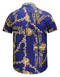 Pizoff Men's Short Sleeve Luxury Print Dress Shirt Y1782-20