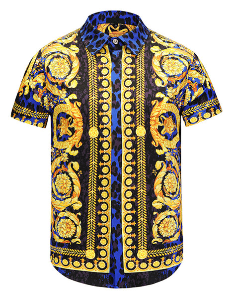 Pizoff Men's Short Sleeve Luxury Print Dress Shirt Y1782-22
