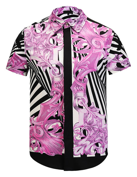Pizoff Men's Short Sleeve Luxury Print Dress Shirt Y1782-24