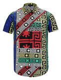 Pizoff Men's Short Sleeve Luxury Print Dress Shirt Y1782-27