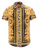 Pizoff Men's Short Sleeve Luxury Print Dress Shirt Y1782-28