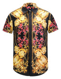 Pizoff Men's Short Sleeve Luxury Print Dress Shirt Y1782-29