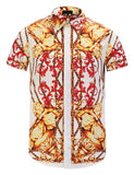 Pizoff Men's Short Sleeve Luxury Print Dress Shirt Y1782-30