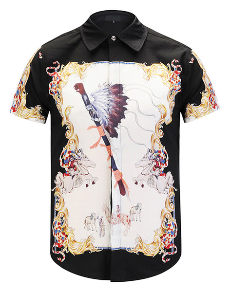 Pizoff Men's Short Sleeve Luxury Print Dress Shirt Y1782-32