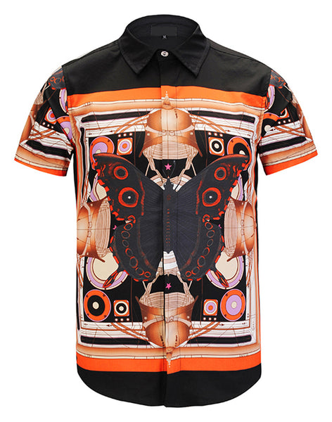 Pizoff Men's Short Sleeve Luxury Print Dress Shirt Y1782-35