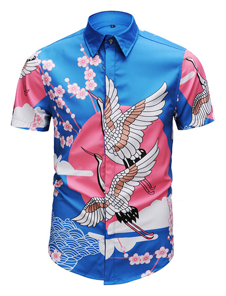 Pizoff Men's Short Sleeve Luxury Print Dress Shirt Y1782-40