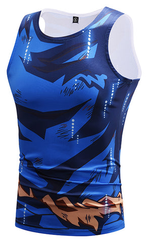 Pizoff Unisex 3D Dragon Ball Z Cartoon Print Work Out Compression Muscle Tank Top Y1783-32