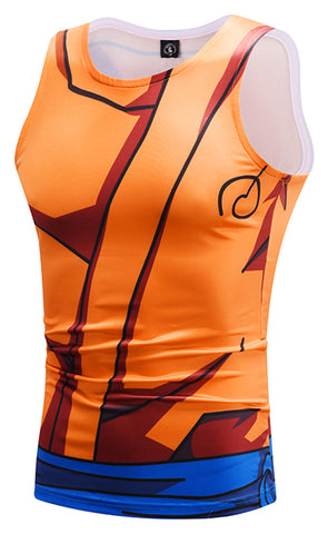 Pizoff Unisex 3D Dragon Ball Z Cartoon Print Work Out Compression Muscle Tank Top Y1783-35