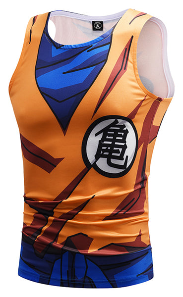Pizoff Unisex 3D Dragon Ball Z Cartoon Print Work Out Compression Muscle Tank Top Y1783-40