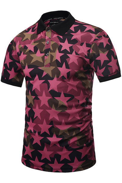 Pizoff Mens Hipster 3D Print Button Down Star Polo-Shirt Y1790-06