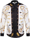 Pizoff Mens Long Sleeve Luxury Design Print Dress Shirt  Y1792-07