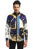 Pizoff Mens Long Sleeve Luxury Design Print Dress Shirt  Y1792-08
