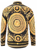 Pizoff Mens Long Sleeve Luxury Design Print Dress Shirt Y1792-18
