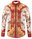 Pizoff Mens Long Sleeve Luxury Design Print Dress Shirt  Y1792-21