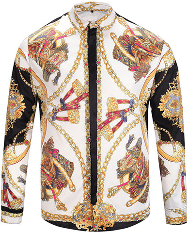 Pizoff Mens Long Sleeve Luxury Design Print Dress Shirt  Y1792-22