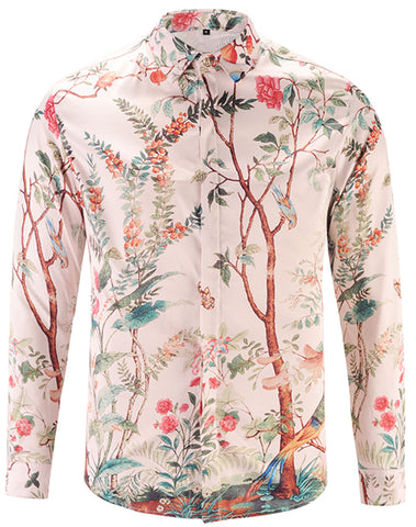 Pizoff Mens Long Sleeve Luxury Design Print Dress Shirt  Y1792-26