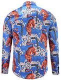 Pizoff Mens Long Sleeve Luxury Design Print Dress Shirt  Y1792-27