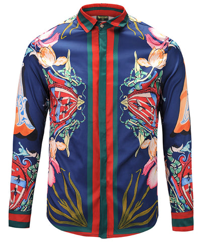 Pizoff Mens Long Sleeve Luxury Design Print Dress Shirt  Y1792-28