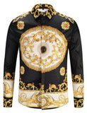 Pizoff Mens Long Sleeve Luxury Design Print Dress Shirt  Y1792-30