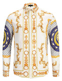 Pizoff Mens Long Sleeve Luxury Design Print Dress Shirt  Y1792-33