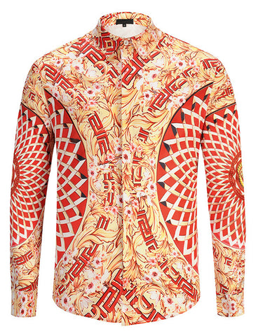 Pizoff Mens Long Sleeve Luxury Design Print Dress Shirt  Y1792-35