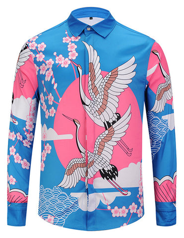 Pizoff Mens Long Sleeve Luxury Design Print Dress Shirt  Y1792-36
