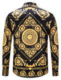 Pizoff Mens Long Sleeve Luxury Design Print Dress Shirt  Y1792-57
