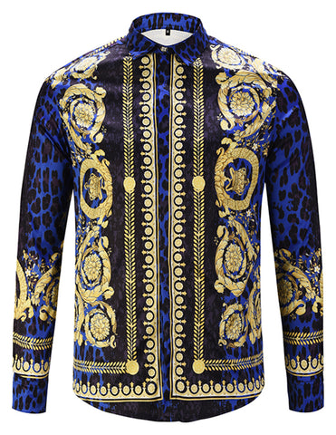 Pizoff Mens Long Sleeve Luxury Design Print Dress Shirt  Y1792-63