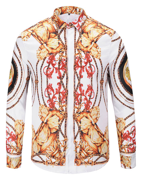 Pizoff Mens Long Sleeve Luxury Print Dress Shirt Y1792-64