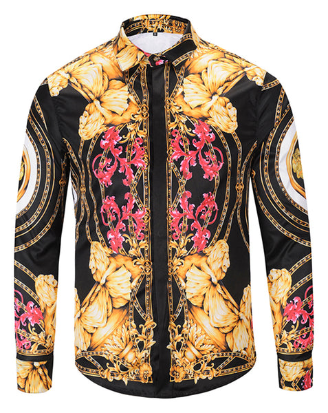 Pizoff Mens Long Sleeve Luxury Print Dress Shirt Y1792-65