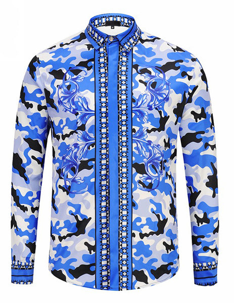 Pizoff Mens Long Sleeve Luxury Print Dress Shirt Y1792-71