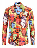 Pizoff Mens Long Sleeve Luxury Print Dress Shirt Y1792-74