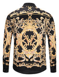 Pizoff Mens Long Sleeve Luxury Print Dress Shirt Y1792-81