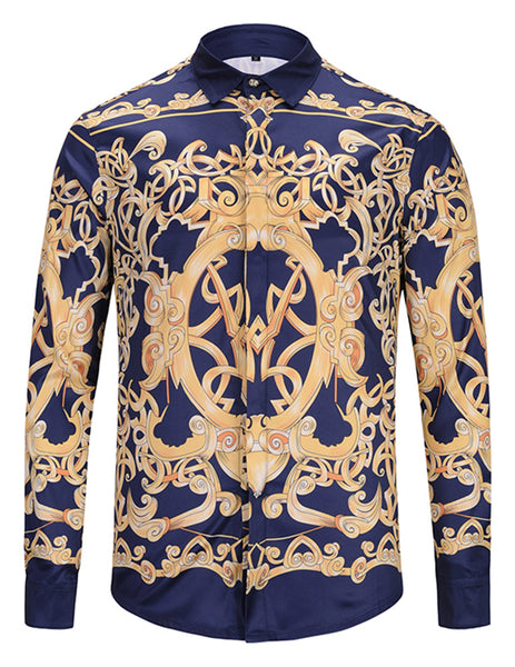 Pizoff Mens Long Sleeve Luxury Print Dress Shirt Y1792-82