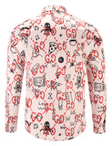 Pizoff Mens Long Sleeve Luxury Print Dress Shirt Y1792-88