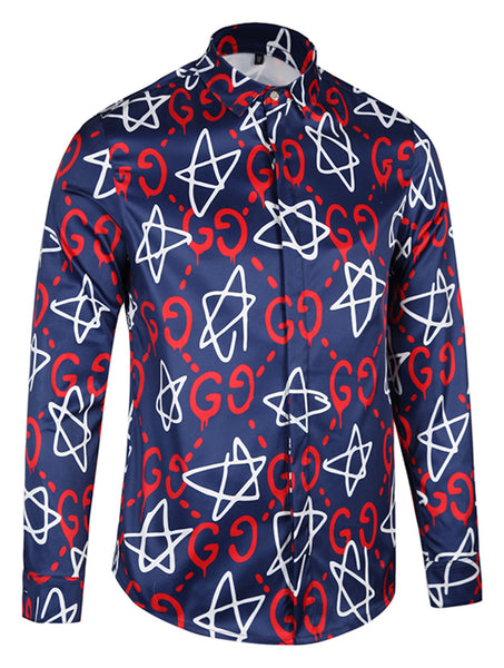 Pizoff Mens Long Sleeve Luxury Print Dress Shirt Y1792-90
