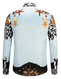 Pizoff Mens Long Sleeve Luxury Print Dress Shirt Y1792-93