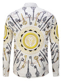 Pizoff Mens Long Sleeve Luxury Print Dress Shirt Y1792-A2