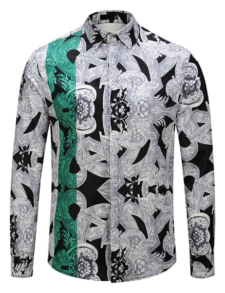 Pizoff Mens Long Sleeve Luxury Print Dress Shirt Y1792-A4