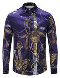 Pizoff Mens Long Sleeve Luxury Print Dress Shirt Y1792-A7