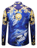 Pizoff Mens Long Sleeve Luxury Print Dress Shirt Y1792-A8