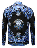 Pizoff Mens Long Sleeve Luxury Print Dress Shirt Y1792-A9